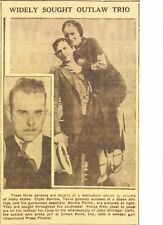 APR 1934 NEWSPAPER COPY- JOHN DILLINGER, BONNIE & CLYDE- OUTLAW TRIO SOUGHT