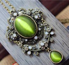 Rhinestone Cat's Eye Gems Crystal Flower Pendant Necklace Coat Sweater Chain