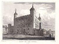 1840 Vittoriano Stampa ~ Keep Di The Torre Di Londra