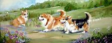 CORGI DOG NEW ORIGINAL OIL PAINTING SANDRA COEN ARTIST CANVAS COUNTRYSIDE WALK