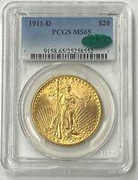 1911-D $20 Saint Gaudens Gold Double Eagle Pre-1933 PCGS MS65 CAC Ultra Flashy!!