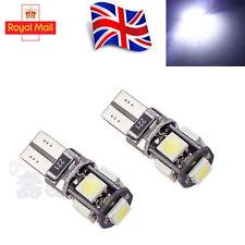 2x T10 CAR BULBS LED ERROR FREE CANBUS 5 SMD XENON WHITE W5W 501 SIDE LIGHT BULB
