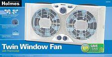 "Holmes Dual 8"" Blade Twin Window Fan with Manual Controls, 3 Speed Settings,"
