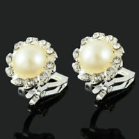 Xmas Comfy Clip On Cream Ivory Pearl & Rhinestone Crystal Stud Silver Earrings