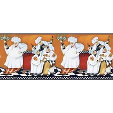 New Chefs Prepasted Wallpaper A-Cookin Border Fat Chef - Kitchen Cafe Wall Decor