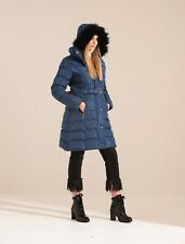 Charcoal Fashion Women's Blue Long Length Winter Puffa Coat (03WJ19 TULIP)