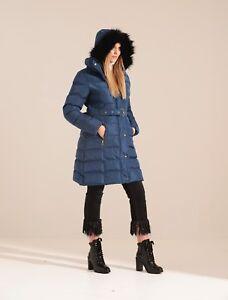 Charcoal Fashion Women's Blue Long Length Winter Puffa Coat (03WJ19 TULIP)