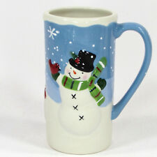 St. Nicholas Square CHILL OUT 16oz Tall Latte Mug Snowman Blue White Christmas