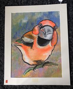 "VIC REEVES b1969 Original Acrylic Painting ""Bullfinch"" Signed"