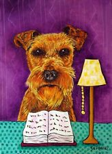 irish terrier reading dog art print 8x10