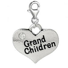 Heart 2 Sided w/ Clear  Crystal Stones Grand Children Charm Clip On Pendant w/ L