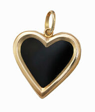 Pendant - Onyx Heart with Gold - 10K Laminated Gold - 2.5cm