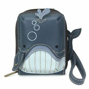 NEW CHALA NAVY BLUE WHALE RFID CREDIT CARD HOLDER ZIPPERED WALLET FAUX LEATHER