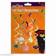10 Pack Lámina remolino Decoraciones Halloween Spooky cráneo Araña Fantasma Calabaza murciélagos