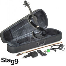 Stagg EVN 4/4 S-Shaped Electric Violin - Black + Case, Rosin, Bow, Headphones