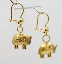 18k gold drop elephant hoop earring #b2