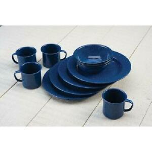 Camping Dishes Coleman 12-Piece Enamel Dinnerware Set Specked Blue Service for 4