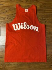 Vintage Wilson Tank Top Spell Out Large Print Red Tag Sz L Gym Weight Lifting