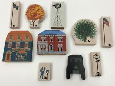 Vintage Pre-Owned Lot of 10 Cat's Meow Wood Shelf Sitters Buildings +