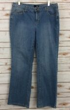 ceabb4e0b9466 A.N.A Jeans Womens Size 14W Denim Distressed Faded Boot Cut Measures 37×31