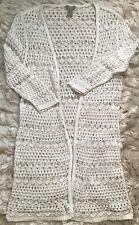CHICO'S Women's Sz 1 Long White Summer Sweater Boho