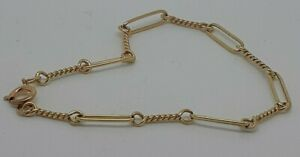 9ct Solid Yellow Gold handmade Twisted Bar Link Chain Bracelet