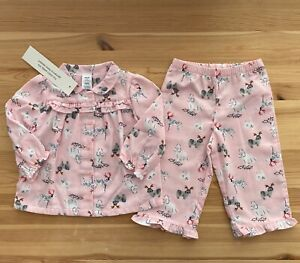 NWT JANIE AND JACK Pink Christmas Dogs Flannel Pajamas Size 12-18 Months