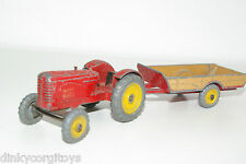 DINKY TOYS 300 320 MASSEY HARRIS TRACTOR WITH FARM TRAILER EXCELLENT CONDITION