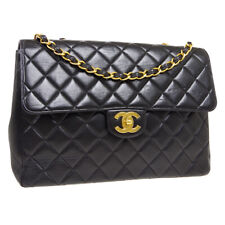 CHANEL Quilted CC Jumbo Double Chain Shoulder Bag 4336378 Black Leather 34574
