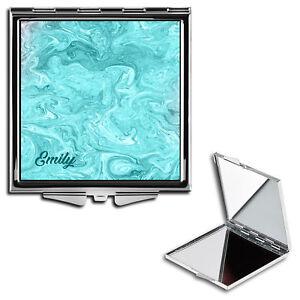 Personalised Name Initials Marble Handbag Travel Make Up Compact Mirror - 21