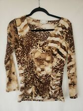 Essex Tiger Print Shirt Blouse Top Small Rouched Longsleeve Carole baskin