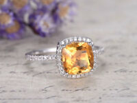 2.15Ct Cushion Cut Citrine & Diamond Halo Engagement Ring 14K White Gold Finish