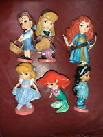 Lot Of 6 Disney Princess Toddler Animators Collection PVC Cake Topper Figures
