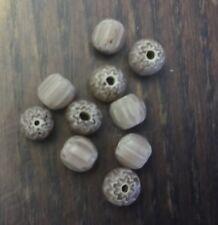 Vintage Venetian Trade Rare Matte Layer Chevron Pale Cream Lilac Glass Bead Lot