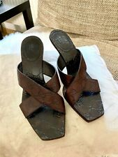 Gucci Brown Monogram Logo Leather Mule Square Toe Heels Shoes Sandals Size 38.5