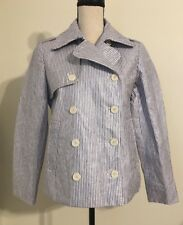 NWT JCREW $198 Collection striped cropped trench coat Size8 G1976 In Blue/White