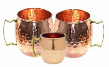 Handcrafted Hammered Copper Moscow Mule Mugs 16 Ounce Set of 2 with 1 Shot Mug