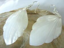 7,4 cm 925 Silber Ohrringe weiße Perlmutt Blatt Ohrhänger Earrings 53 x 31 mm