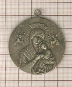 Jolie représentation Vierge Marie orthodoxe  sur médaille religieuse  Pie X ,