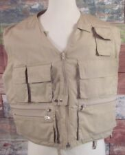 WOOLRICH Multi-Pocket Fishing Vest Size Large Khaki Full Zip Polyester Blend
