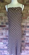 JONES NEW YORK Womens Brown Striped 100% Silk Spaghetti Strap Cocktail Dress 12