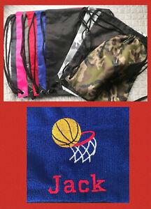 BASKETBALL GYMSAC BagBase EMBROIDERD PERSONALISED - GYM BAG - DRAWSTRING BAG