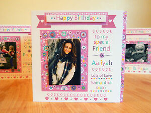Photo card Special Birthday Girl Birthday Card Personalised name & PHOTO cards