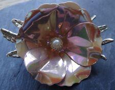 Vintage Big irisaciones Esmalte Rosa Flor 3D Broche Pin - 1960s y A85