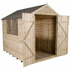 8x6 Pressure Treated Wooden Garden Shed 8ft x 6ft Apex Double Door Overlap Sheds