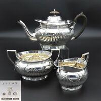 STUNNING ELKINGTON HALF FLUTED 3 PIECE TEASET TEA POT SUGAR CREAMER SILVER PLATE