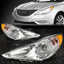 For 11-14 Sonata Pair Chrome Housing Amber Corner Projector Headlight Head Lamps