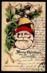 1¢ WONDER'S ~ 1909 CHRISTMAS POSTCARD W/ SANTA UNDER HOLLY & SIGNATURE ~ P136
