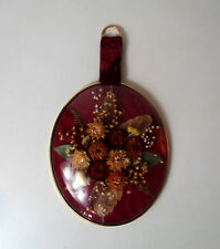 ancien cadre ovale verre bombé fleurs immortelles Vintage 24x19cm