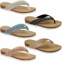 New Ladies Womens Flip Flops beach summer toe post Sandals girls Glitter Shoes